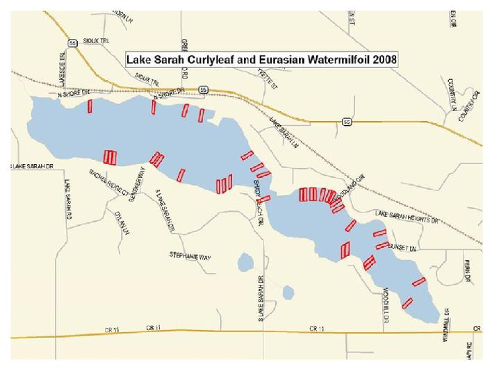 Map of May 2008 weed treatment areas to control curlyleaf pondweed and eurasian watermilfoil. courtesy of Tom Snook, Lake Restoration, Inc.